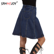 Buy Sammejoy Casual Solid Pockets Jeans Pleated Skirts Women Fashion A-line Denim Skirts Ladies Autumn Plus Size S 5XL 15002 for $17.15 in AliExpress store