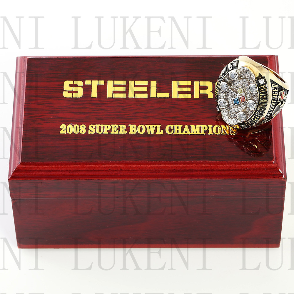Replica 2008 Super Bowl XLIII Pittsburgh Steelers Championship Ring Football Rings With High Quality Wooden Box Best Gift LUKENI(China (Mainland))