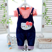 Baby Clothes 2017 Girls Autumn Cartoon kitty Suits Kids Denim overalls Long sleeve+pants (Tow piece sets)(China)