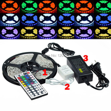 Best Price 5050 300 5M RGB LED Strip SMD 60led/m Waterproof + 44key IR Remote Controller + 12V 5A Power Adapter(China)