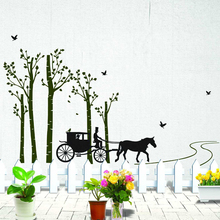 1PC New Creative DIY 3D Carriage in the Forest Birds flying for Living Room Bedroom Background Wall Stickers Mural