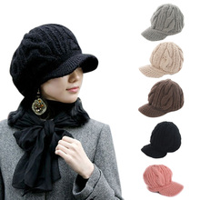 Fashion Women Peaked Cap Hat Winter Warm Caps Knitted Headwear Outdoor Hats H9(China)