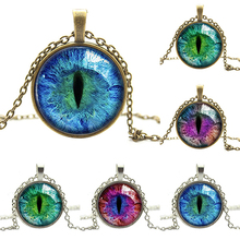 Colored Dragon Cat Eye Glass Cabochon Silver Pendant Necklace 74OT(China)