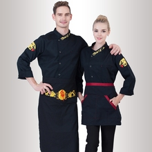 Fall/Winter Long Sleeve Chef Coats+Big Apron Europe Workwear uk Embroidered Clothing Hotel Cooking Clothes Cheap Jacket(China)