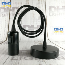 Sample order of E27 DIY lamp fixture black knob switch bakelite socket with 1.1 meter wire and 100mm iron ceiling plate
