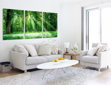3 Panel Modern Wall Painting  beautiful scene green tree   art painting  Home Decorative Art Picture Paint on Canvas Prints