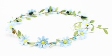 2018 Flower Wreath Headband light blue flower Garland HOT sale artificial flower wedding valentines gift(China)