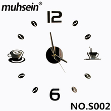 2017 muhsein 3D Best Home Decoration DIY Wall Clock Unique acrylic number Stickers Self Adhesive home Decor Modern Wall Clocks
