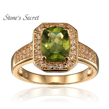 2.46ctw Peridot,Ylw Diamond,Wht Topaz 18k Gold Over Silver Ring(China)