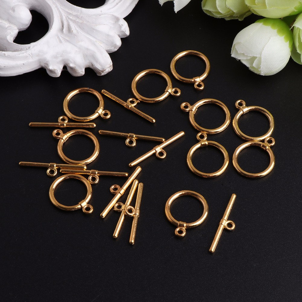 10 pcs Silver tone flower toggle clasps jewellery making findings