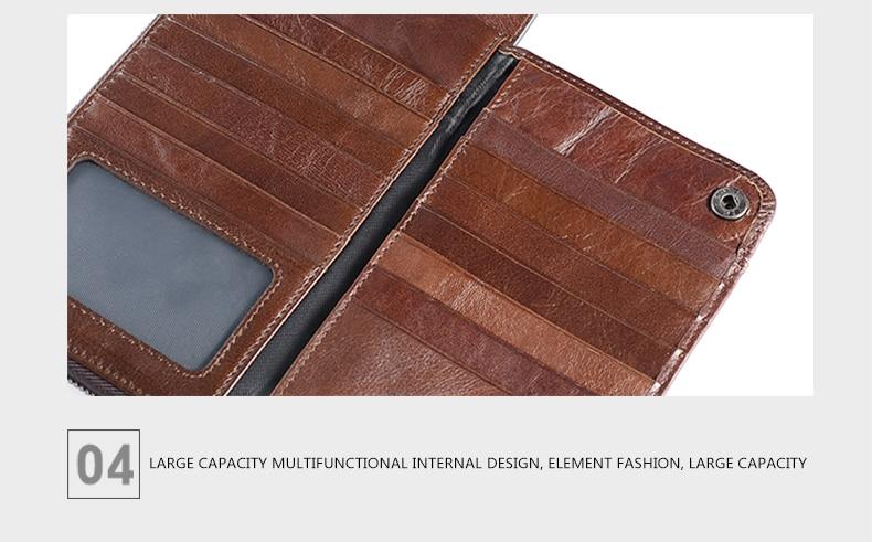 LUENSRO Wallet Leather Vintage Wallets Men Genuine Leather Wallet Zipper Card Holder Purse Long Coin Purse Money For iPhone7S (17)