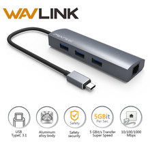 Wavlink 3 Port USB 3.0 Hub RJ-45 Gigabit Ethernet Adapter USB Hub 3.0 Aluminum for USB 3.0 Type-C Devices for MacBook Chrombook(China)