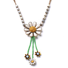 European and American fashion jewelry wholesale factory direct retro female personality drops of enamel daisy necklace