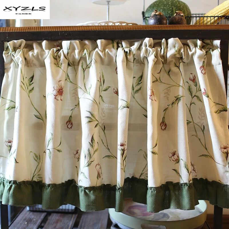 XYZLS American Style Half Curtain Floral Kitchen Curtains Pastoral Short Panel Curtain for Cafe Door Window Blinds 1 Piece