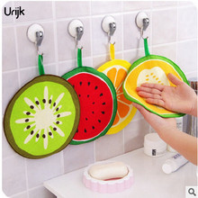 Urijk 1PC Creative Fruit Microfiber Towel Absorbent Hands Dry Cloth Cleaning Dish Kitchen Bathroom Accessories Round Print Towel