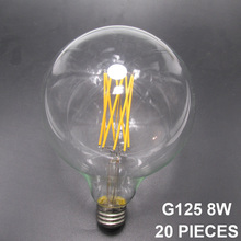 UPS/EMS/DPEX/ARAMEX 20/piece/20pcs G125/G40 E27/E26 Long Filament Style 4W 6W 8W 10W LED Filament Large Globe Edison Light Bulb(China)