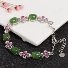 Natural High Quality Hotan Jade Bracelet Woman Fund Bring Certificate 925 Silver Inlay Jasper Fashion Bracelet Generation Hair