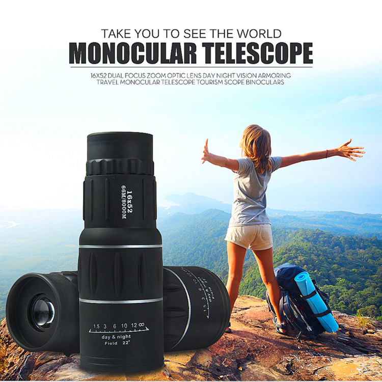 16X52 HD Portable Dual Focus Zoom Monocular High Power Optical Lenses Telescope Spotting Scope for Outdoor Camping Travelling 9