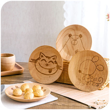 1 PCS rubber wood dinner plate Japanese cartoon western food dishes for breakfast Creative household  plate round fruit bowl
