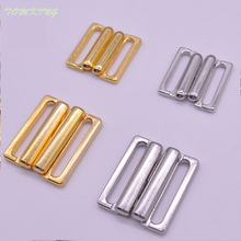 10pcs/lot 14mm/20mm Craft silver gold metal Rectangle Tape Closure Hook & Clasp Waist Extenders Sewing On Clothes Bra Clip Hooks(China)