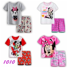 New Summer Cartoon Suits Girls Pajamas Baby Printed Pijamas sets 100% Cotton Children's Clothing set Kids Sleepwears