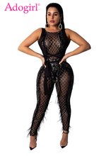 Buy Adogirl Feather Sequins Sheer Mesh Bandage Jumpsuit Halter Lace Backless Night Club Party Outfits Women Sexy Romper Playsuits
