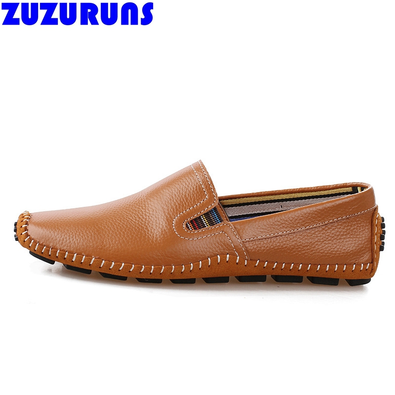 fashion mens breathable leisure casual shoes genuine leather brand driving casual shoes men slip on shoes zapatos hombre 2f58<br>