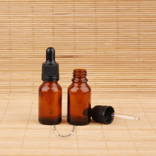 10pcs/Lot Promotion 15ml Amber Essential Oil Glass Bottle With Water 1/2 OZ Drop Pipette Pot Brown Silicone Head Small(China)