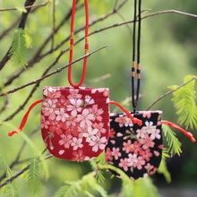 2pcs Cherry Blossom pattern red/black color bag Can hang neck pouch sachet perfume package amulet bag J1656(China)