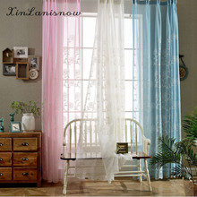 Rural Three-dimensional Embroidery Curtain Yarn The Sitting Room The Bedroom Curtain Sheer Tulle Finished Products(China)