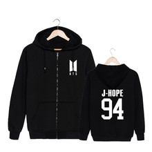 ALIPOP KPOP Korean Fashion BTS Bangtan Boys 2017 New Album ARMY Logo Cotton Zipper Autumn Hoodies Zip-up Sweatshirts PT551