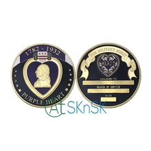 Wholesale Fashion challenge coins 1782-1932 Purple Heart gold plate coin badge Merit award medal Military Merit Challenge coins(China)