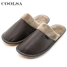 Coolsa Winter Men Leather Cotton Slippers Soft PU Short Plush Flat Oxford Non-slip Home Slippers Waterproof Keep warm Flip Flops(China)