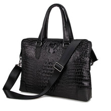 Crocodile Pattern Genuine Cowhide Two Compartments Black Men Leather Briefcase Business Handbag Fit for 15 Inch Laptop PR577276(China)