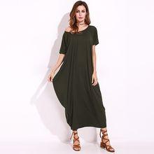 Women One Off Shoulder Maxi Dress 2018 Summer Autumn Short Sleeve Oversized Vintage  Retro Long Shift 4b086f777d41