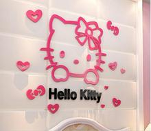 DIY Hello kitty 3D stereoscopic wall stickers for kids rooms Acrylic crystal cartoon bedroom background wall decoration(China)