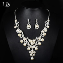 princess jewelry set imitated pearl pendant necklace earrings high quality crystal aaa bridal women wedding jewels gifts D017(China)