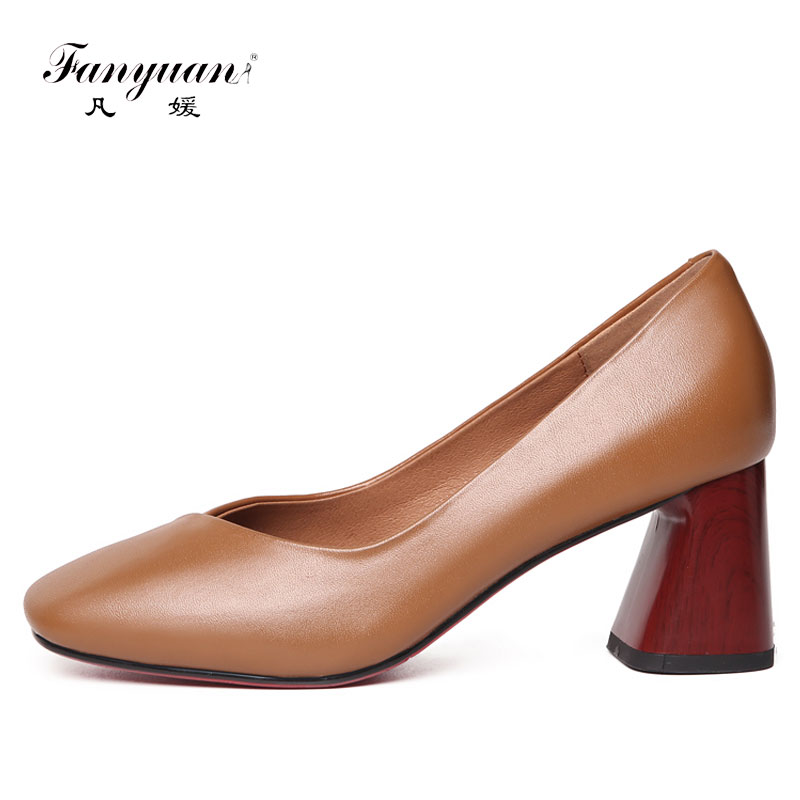 Fanyuan 2018 Genuine Leather Size 33-40 Concise style chaussure femme zapatos Ladies Hoof heels shoes Mid heel pump dress shoe<br>