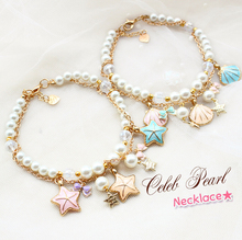 Free shipping Great fresh shells and starfish rose gold chain adjustable pearl dogs necklace pet accessories jewelry mascotas