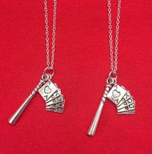 Vintage Silver Baseball Bat Poker Necklaces Pendant Charms Statement Choker Necklaces Women Jewelry Accessories DIY Gifts B403(China)