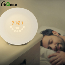 Simulated Sunrise Sunset Wake Up Digital LED Alarm Clock FM Radio Electronic Alarm Clocks Touch Sensor Night Light Beside Lamp(China)