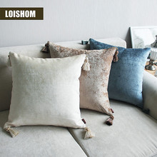 Drop Ship Luxurious Chenille Pillow Cover with Tassle Home Deco Cushion Cover Velour Decoration Pillowcase decorative pillowsham(China)