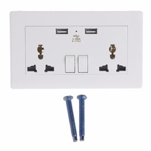 Universal Wall Socket Dual USB Plug Switch 2100mA Outlet With LED Indicator