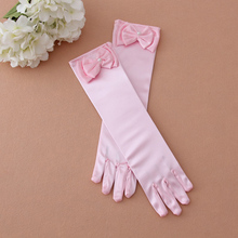 Female Child Flower Girl Child Formal Princess Costume Accessories White Pink Lace Bow Gloves