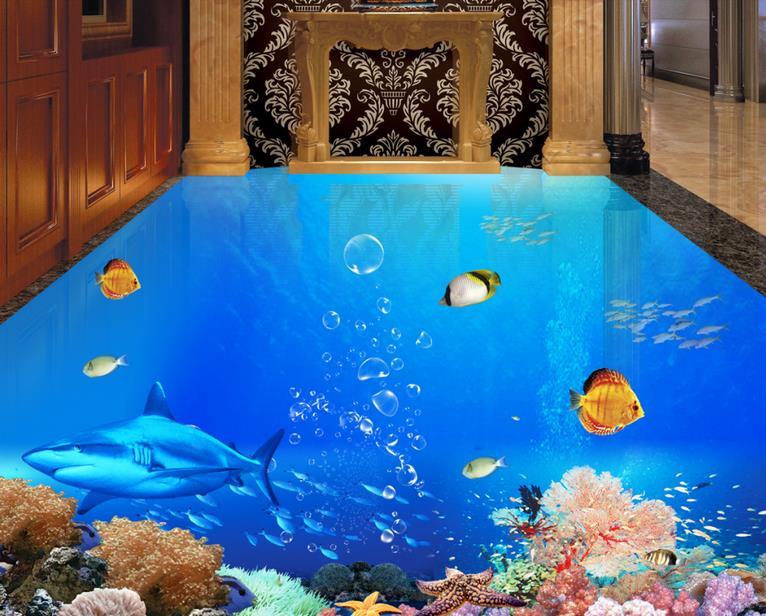 3d flooring waterproof wall paper custom photo wallpaper Modern Ocean World vinyl flooring adhesives wallpapers for living room<br><br>Aliexpress