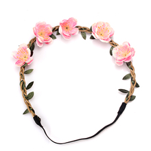 M MISM Wedding Wreath for Women Hair Accessories Flower Garland Headbands Festival Beach Self Photo Scrunchy Elastic Hair Bands(China)