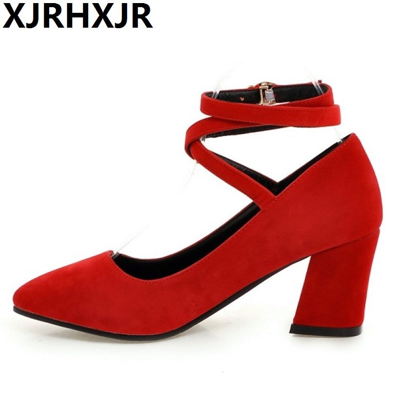 Hot Sale Autumn Women Pumps Pointed Toe Cross-Strap Buckle Fashion Lolita Shoes Thick Square Heel Shoes Plus Size 34-43<br>