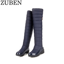 1 Pair 2017 New Arrival Keep Warm Solid Flat Snow Boots Women Fashion Platform Fur Thigh Knee High Boots Round Toe Winter Boots