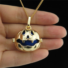 GLOWCAT B0Q910 Glow In the Dark Fragrance Copper Diffuser Pumpkin Locket Necklace Hallowmas Jewelry Kids Gift