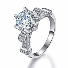 THREEMAN Elegant 18KT White Gold 4CT Synthetic Diamonds Ring AU750 Engagement White Gold Ring Lord Jewelry 18KT Jewellery Ring(China)
